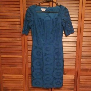 Teal short sleeve lace dress